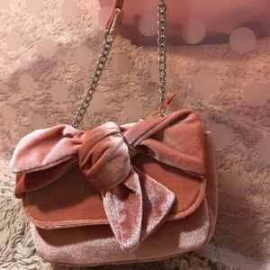 Girls Coral Tie-front bag velvety & precious 👛🎀
